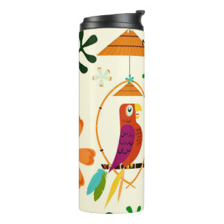 Tiki Birds Modern Vintage Retro Whimsical Thermal Tumbler