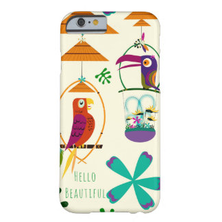 Tiki Birds Vintage Retro Art Personalized Custom Barely There iPhone 6 Case
