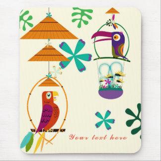 Tiki Birds Vintage Retro Art Personalized Custom Mouse Pad