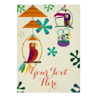 Tiki Birds Vintage Retro Personalized Banner Poster