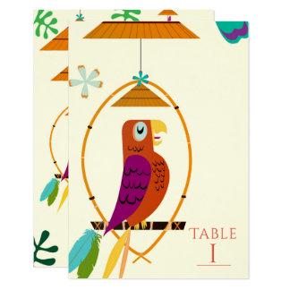 Tiki Birds Vintage Retro Tropical Art Table Number Card