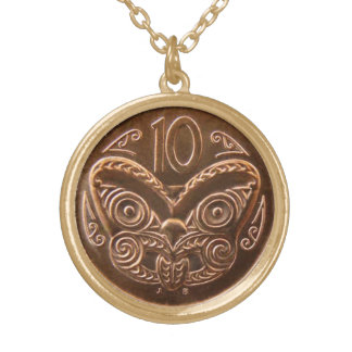 Tiki Coin Gold Plated Necklace