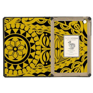 Tiki face and tribal sun tattoo design iPad mini retina case