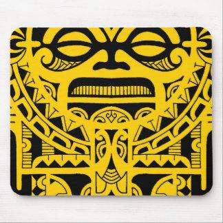 Tiki god tattoo design polynesian face tribal mouse pad