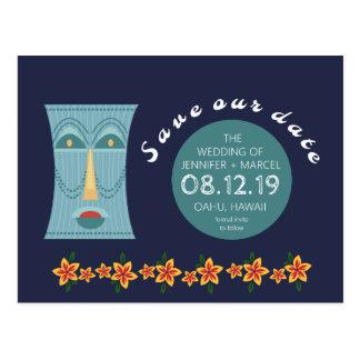 Tiki Hawaii Hawaiian Wedding Save the Dates Postcard