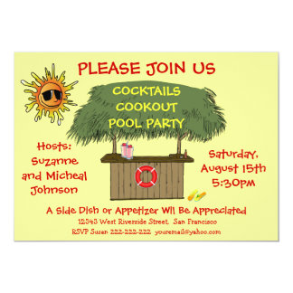Tiki Hut Cocktail Cookout Beach or Pool Party Card
