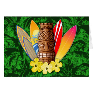 Tiki Mask And Surfboards Cards