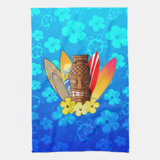 Tiki Mask And Surfboards Tea Towel