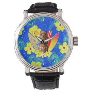 Tiki Mask And Surfboards Watches