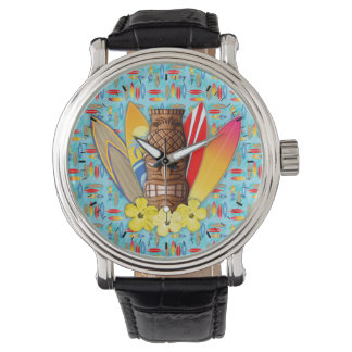 Tiki Mask And Surfboards Wristwatches