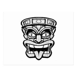 tiki mask hawaiian art postcard