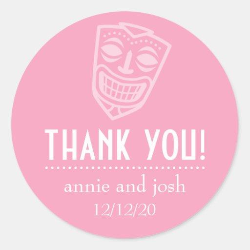 Tiki Mask Thank You Labels (Pink) Round Sticker