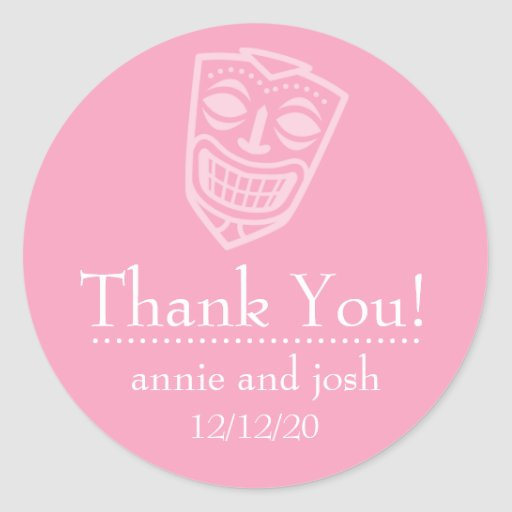 Tiki Mask Thank You Labels (Pink) Sticker