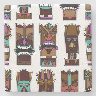Tiki Masks Pattern Stone Coaster