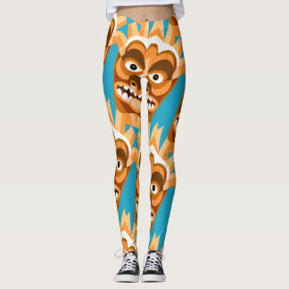 Tiki Monster Funny Gold and Teal Leggings