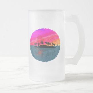 Tiki Sunset Frosted Glass Mug