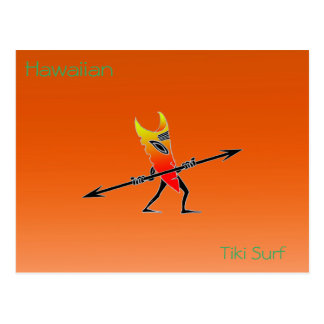 Tiki Surfer Red And Yellow Postcard