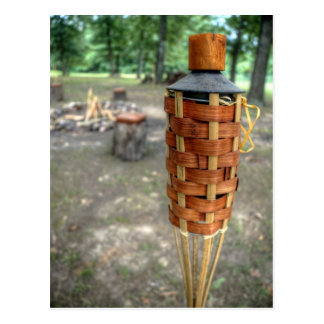 Tiki Torch and Camp Fire Postcard