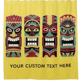 Tiki Totems custom text & color shower curtain