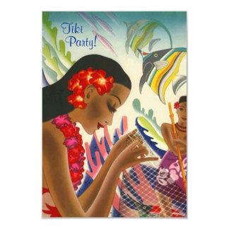 Tiki Tropical Lei Hawaiian Luau party INVITATON Card