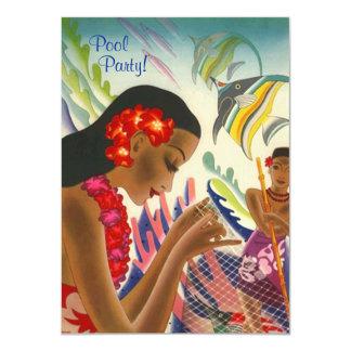 "Tiki Tropical Lei Hawaiian Pool party INVITATON 4.5"" X 6.25"" Invitation Card"
