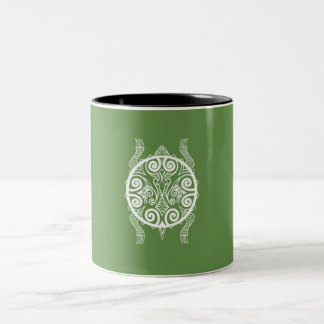 Tiki Warrior Turtle Tattoo Two-Tone Coffee Mug