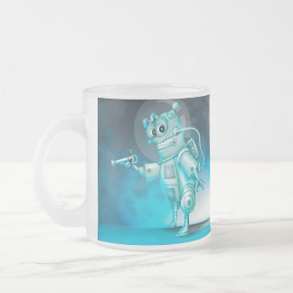 TILDE ALIEN ROBOT CARTOON Frosted Glass Mug 10 onz