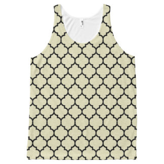 TILE1 BLACK MARBLE & BEIGE LINEN (R) All-Over PRINT TANK TOP