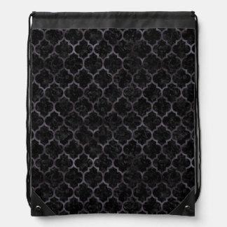TILE1 BLACK MARBLE & BLACK WATERCOLOR DRAWSTRING BAG