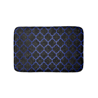 TILE1 BLACK MARBLE & BLUE BRUSHED METAL BATH MAT
