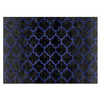 TILE1 BLACK MARBLE & BLUE BRUSHED METAL CUTTING BOARD