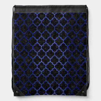 TILE1 BLACK MARBLE & BLUE BRUSHED METAL DRAWSTRING BAG