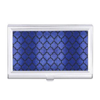 TILE1 BLACK MARBLE & BLUE BRUSHED METAL (R) BUSINESS CARD HOLDER