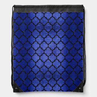 TILE1 BLACK MARBLE & BLUE BRUSHED METAL (R) DRAWSTRING BAG