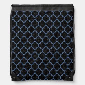 TILE1 BLACK MARBLE & BLUE DENIM DRAWSTRING BAG