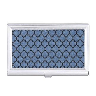 TILE1 BLACK MARBLE & BLUE DENIM (R) BUSINESS CARD HOLDER