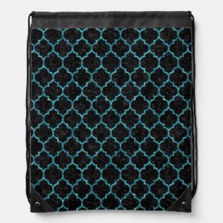 TILE1 BLACK MARBLE & BLUE-GREEN WATER DRAWSTRING BAG