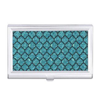 TILE1 BLACK MARBLE & BLUE-GREEN WATER (R) BUSINESS CARD HOLDER