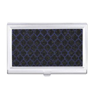 TILE1 BLACK MARBLE & BLUE LEATHER BUSINESS CARD HOLDER