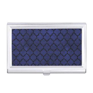 TILE1 BLACK MARBLE & BLUE LEATHER (R) BUSINESS CARD HOLDER