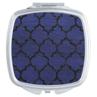 TILE1 BLACK MARBLE & BLUE LEATHER (R) MAKEUP MIRROR