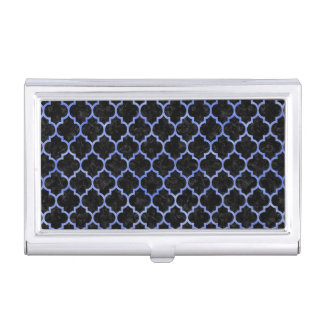 TILE1 BLACK MARBLE & BLUE WATERCOLOR BUSINESS CARD HOLDER
