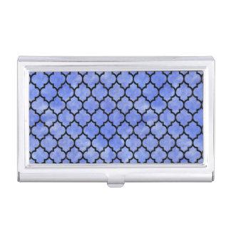 TILE1 BLACK MARBLE & BLUE WATERCOLOR (R) BUSINESS CARD HOLDER