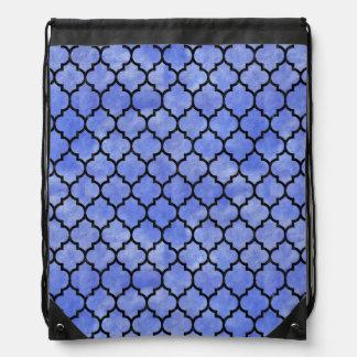 TILE1 BLACK MARBLE & BLUE WATERCOLOR (R) DRAWSTRING BAG