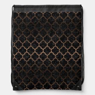 TILE1 BLACK MARBLE & BRONZE METAL DRAWSTRING BAG