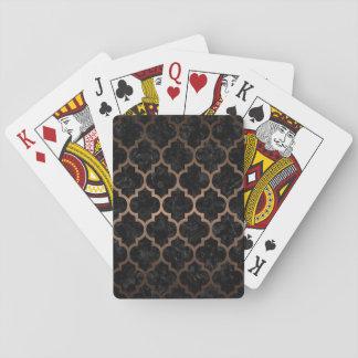 TILE1 BLACK MARBLE & BRONZE METAL PLAYING CARDS