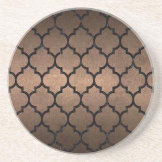 TILE1 BLACK MARBLE & BRONZE METAL (R) COASTER