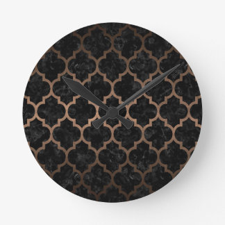 TILE1 BLACK MARBLE & BRONZE METAL ROUND CLOCK