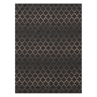 TILE1 BLACK MARBLE & BRONZE METAL TABLECLOTH