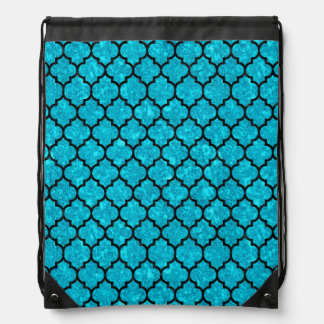 TILE1 BLACK MARBLE & TURQUOISE MARBLE (R) DRAWSTRING BAG